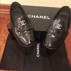 Chanel Flats  Loafers Patent Leather Black 36